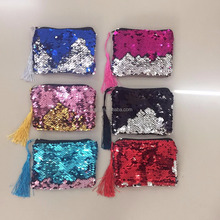 Hot sell mermaid sequin tassel women wallet mobile phone carry bag double colors sequin cosmetic bag lady hand bag