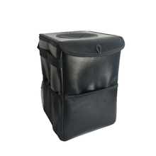 Luxury collapsible waterproof leather car garbage bag trash can with 12L storage capacity