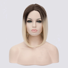 High Quality Synthetic Wigs for Black Woman, Ombre Blonde Cheap Short African American Bob Wigs