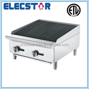 stainless steel gas char rock broiler with 2 burners and independent manual control