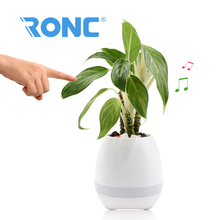 Creative Singing Plastic Flower Pot with LED Light Plasti Flower pot with Touch Sensor Music Speaker