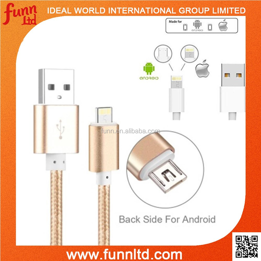 2 in 1 Reversible Two Sided Double Sided USB Cable for iPhone & Android