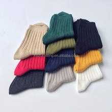 Cotton Pure Color Double Needle Vertical stripes with thick Women's sock