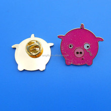 pink pig design metal badge