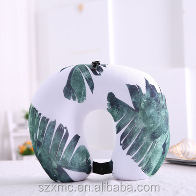 silk U-shape airplane travel neck pillow with customized printing logo filled with polystyrene beads
