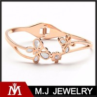 Korean Design Wedding Elegant Jewelry Rose Gold Bangle, crystal Butterfly Bangle