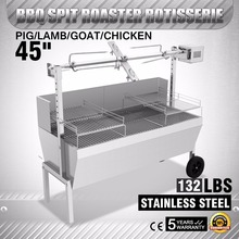 "45"" Large Stainless Steel BBQ,Pig,Lamb,Goat,Chicken Spit Roaster,Rotisserie Spit"