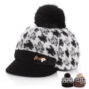 fashion cute short brim wool felt kids baseball cap with pom poms