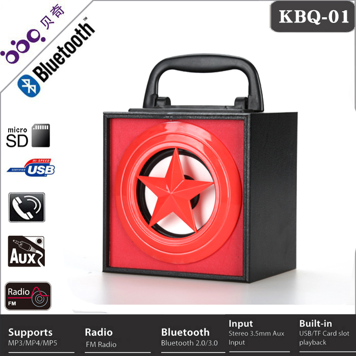 BBQ KBQ-01 Remote Control Portable Mini Bluetooth Wooden Speaker with Led Light, Handfree