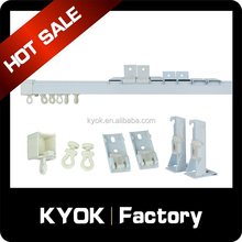 KYOK good quality square aluminum curtain rod, pure whithe double ceiling curtain rail bracket, plastic curtain track covers