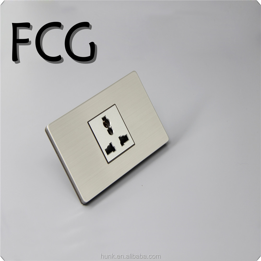 Grey stainless steel Panel Material,American Manufacturer Luxury light switch 3 pin wall socket