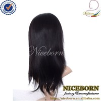 Silky straight natural color wholesale top quality malaysian silk top full lace wigs