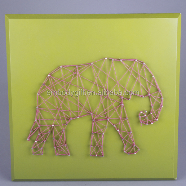 all hand-made wooden string wall art with the elephant shaped design for back to school season