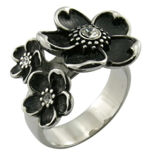 stainless steel antique finish rose flower and skull ring