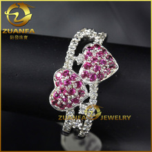 double heart cz micro paved jewelry 925 sterling silver bangkok ruby ring