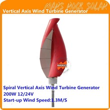 Spiral Vertical Axis Wind Turbine Generator VAWT 200W 12/24V Light and Portable Wind Generator Strong and Quiet