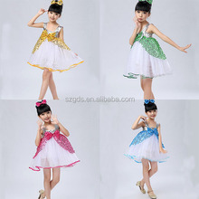 Latest children kids ballroom sequin dress latin dance costume modern dance costumes children