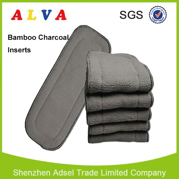 ALVA High Absorbent Organic 5-Layer Cloth Diaper Charcoal Bamboo Insert