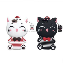 For iPhone Mobile Phone Accessory Cartoon Animal Soft Case 3D Lucky Cat Design Silicone Case