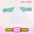 2017 Easter striped Design 3/4sleeve ruffle raglan top icing ruffles toddler raglan shirts