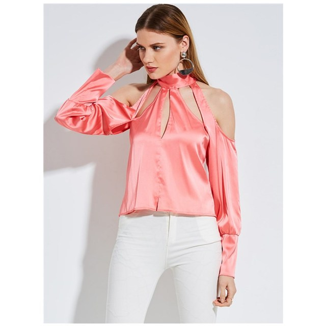 2017 New Women Comfortable Lace Up Backless Shirts Women Long Sleeve Stand Collar Fashion Design Pink Stain Silk Ladies Blouse