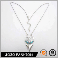 Ethnic Turquoise Jewelry Alloy Tassel Silver Dreamcatcher In Necklace