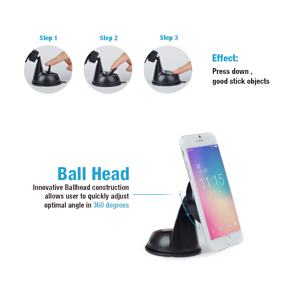 Car Dashboard&Winds Magnetic Suction Cup Phone Mount Holder (Car Holder)