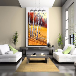 Drawing Room Wall Decoration Experienced Painter Handmade Birch Oil Painting On Canvas Hand Painted Birch Trees Paintings Art