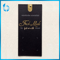 High grade black paper cardboard swing tag with Three-dimensional logo for men's jacket'