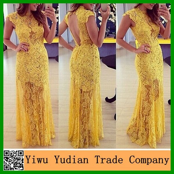 Wholesale Slim Fit Backless Yellow Long Lace Evening Dress