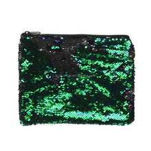 Promotion flap large capacity matt sequin pencil pouch make up bag