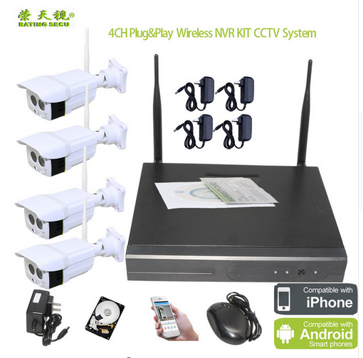CCTV 4CH NVR Kit Security Wireless Camera Kit Best sale nvr wireless kit with outdoor camara wifi ip