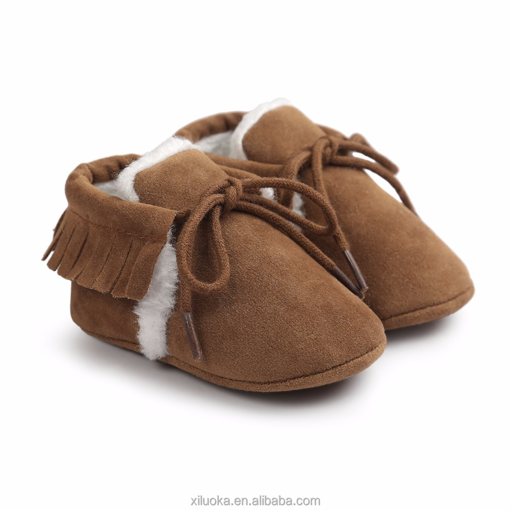 Newborn baby brown fur shoes baby leather booties wholesale