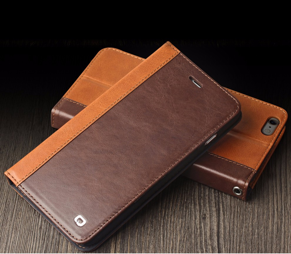 Qialino New Luxury leather flip cover with stand for Iphone 6 plus case 4.7 / 5.5, for iphone 6 wallet case