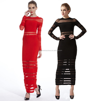 Zustomize Long sleeve perspective bandage long evening dress
