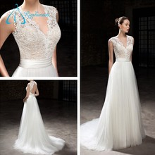 2017 Plus Size Open Back Court Train Lace Wedding Dress Bridal Gown