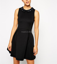 2014 Latest Designs Fashion Woman Premium Skater Dress in Structured Bonded Fabric with Embellished Collar