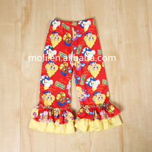 Top sale! girls boutique wholesale icing triple ruffle with print mermaid red ruffle girls leggings