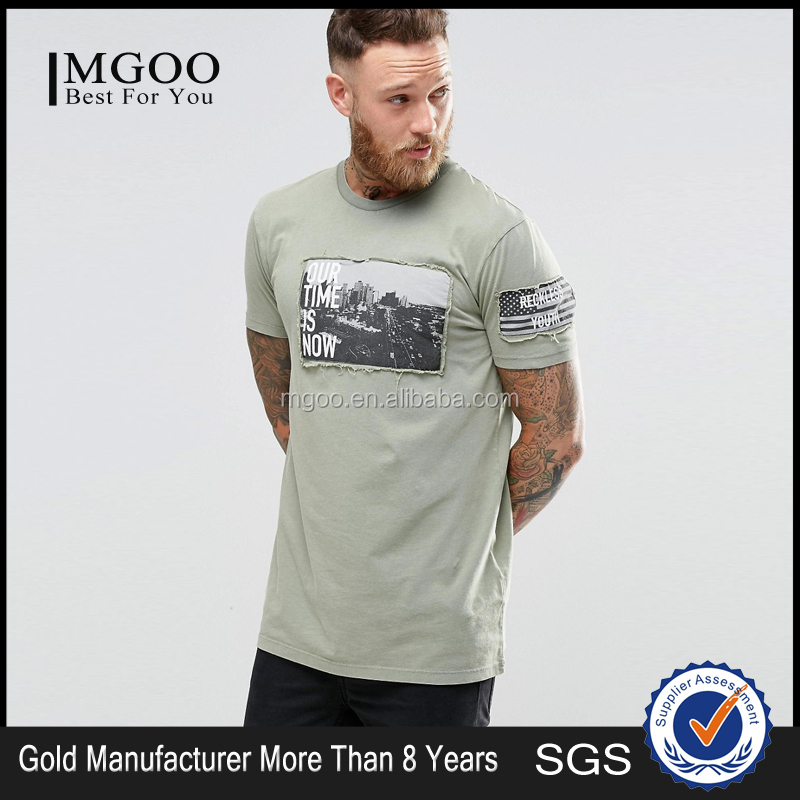 Custom Design Longline T-Shirt With Acid Wash And Printed Patch New Model Crewneck Men Summer Clothing In Bulk Plain