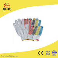 Cotton knitted safety gloves with PVC dot