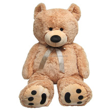 high quality large big teddy bear plush toy 200cm or 2m in light brown with bow