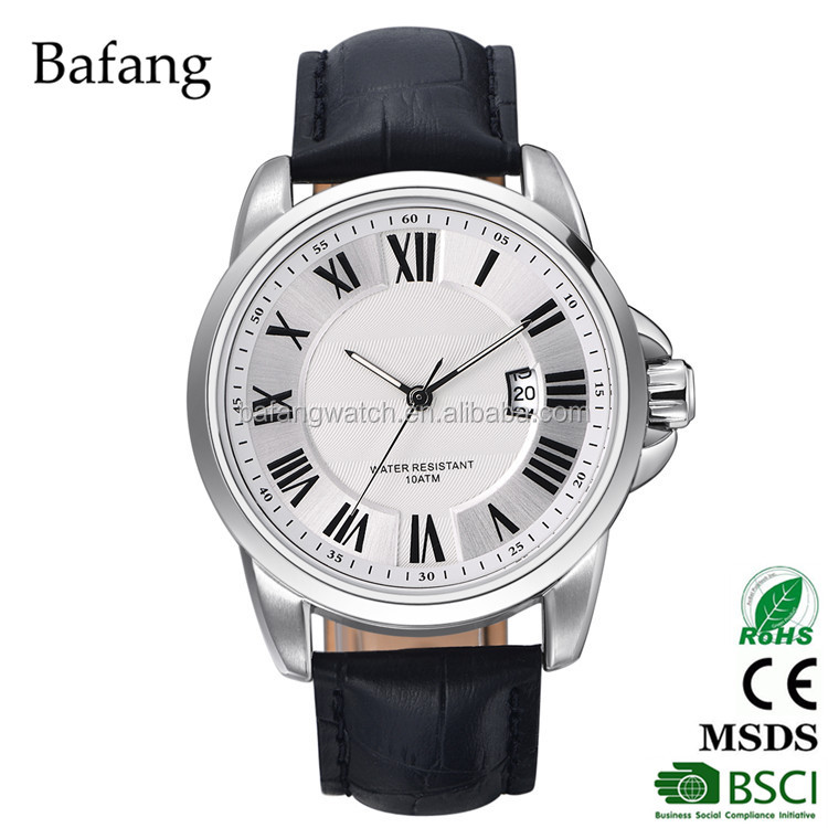 Hot oem face stainless steel case feature quartz day date wrist watch for men