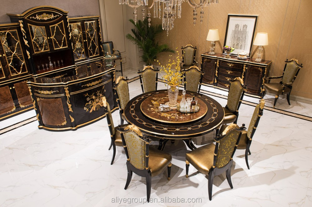 At07 luxury furniture round dining table and 8 chairs for Luxury round dining table