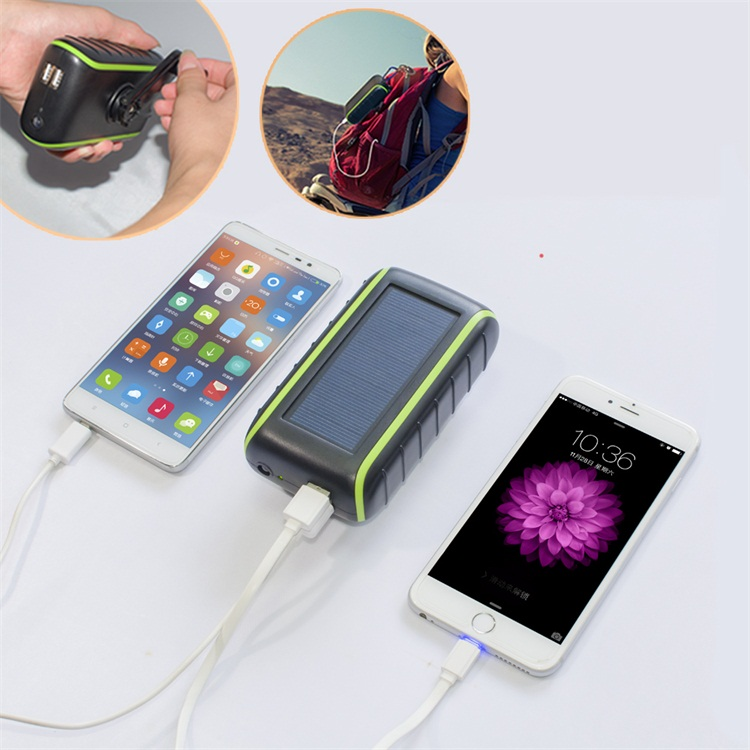 Best Xmas gifts external flashlight <strong>mobile</strong> power bank + hand generator + solar power li-ion battery charger