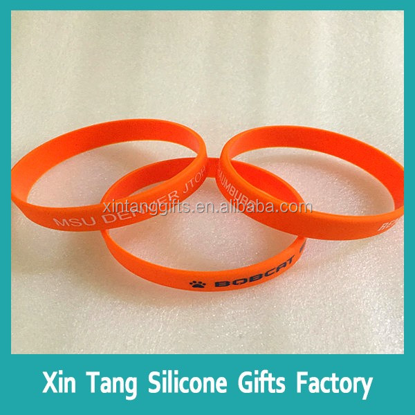 Rainbow segmented color thin silicone bracelet wristband