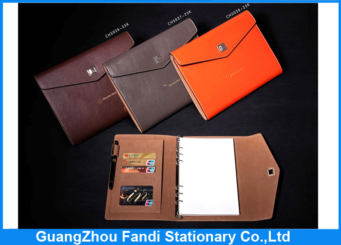 Promotional China manufactured embossed leather book covers with pocket