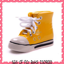 Pop sport shoes plastic money box/high quality shoes shape coin bank/custom your own brand shoes money box manufacture