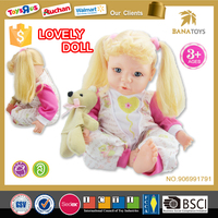 Newest baby toy girl high quality silicone child doll with bear