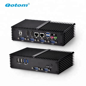 OEM Qotom Mini pc barebone system,AES-NI fanless linux Ubuntu Mini PC i5 i3 gaming Desktop computer