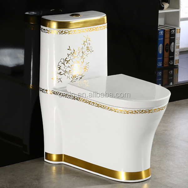 Golden color ceramic bathroom wc toilet floor standing one piece toilet